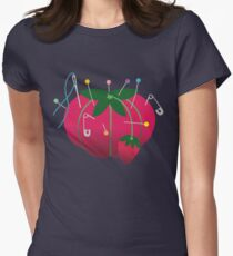 Sewing tomato strawberry pin cushion Womens Fitted T-Shirt