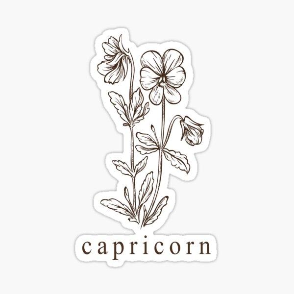 Capricorn Botanical Zodiac Sticker