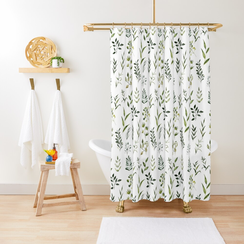 Watercolor Greenery Shower Curtain