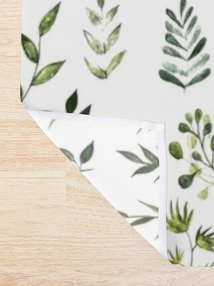 Alternate view of Watercolor Greenery Shower Curtain