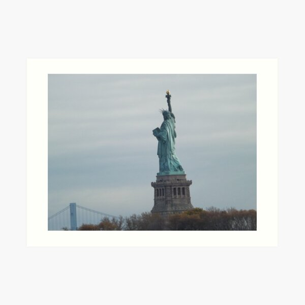 Historic Statue of Liberty, Liberty Island, View from Liberty State Park, New Jersey  Art Print