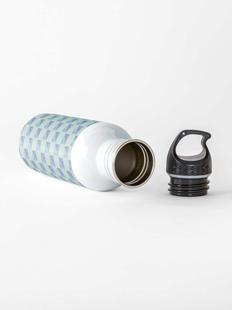 Alternate view of square ying yang blue geometric pattern Water Bottle