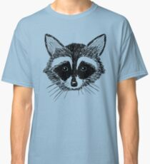 Raccoon Face on Grey Classic T-Shirt