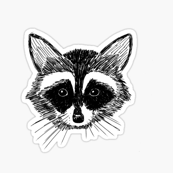 Cara de mapache en gris Pegatina