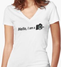 Hello There is a Photographer in the House! Women's Fitted V-Neck T-Shirt