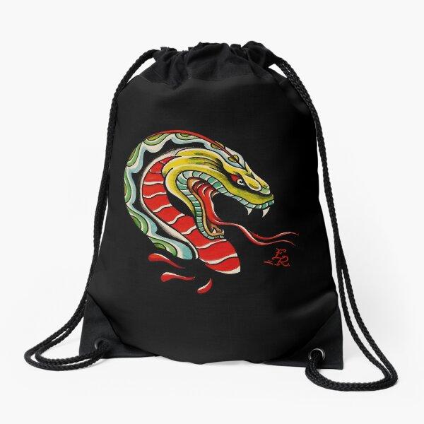 snake tattoo Drawstring Bag