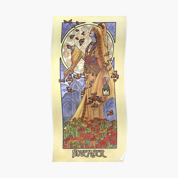 Lady of November with Chrysanthemums and Monarch Butterflies Aztec Death Goddess Mucha Inspired Birthstone Series Poster