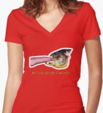 Not your average fish finger Women's Fitted V-Neck T-Shirt