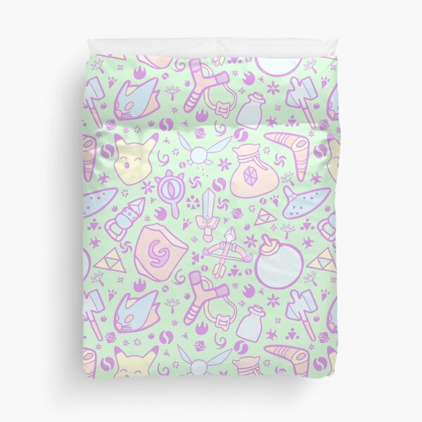 Zelda Doodlez (Green Pastel ver.) Duvet Cover