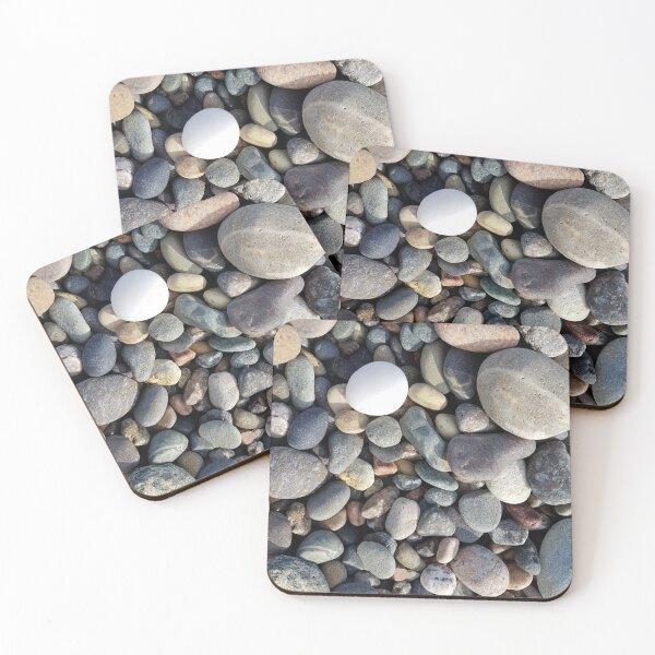 Seeleys Cove Beach stones #3, New Brunswick Coasters (Set of 4)