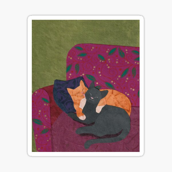 Two Cats Cuddle on a Loveseat Sticker