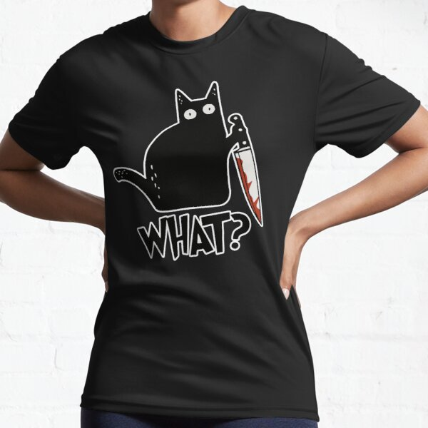 Cat What? Murderous Black Cat With Knife Gift Premium Active T-Shirt