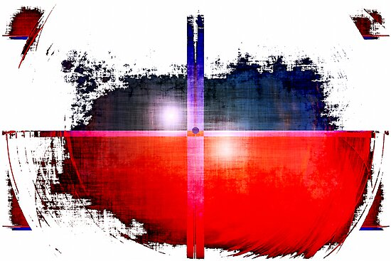 Red and Blue on White by Benedikt Amrhein