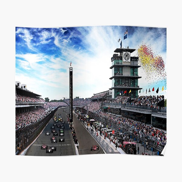 """Indianapolis 500 Start collage """"Back home again in Indiana"""" Poster"""