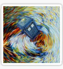 Blue Phone Booth jump into time Vortex art painting Sticker
