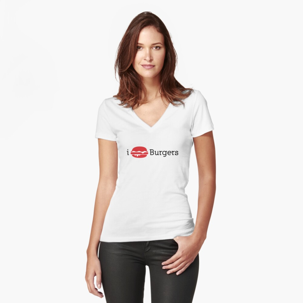 I Heart Burgers Women's Fitted V-Neck T-Shirt Front