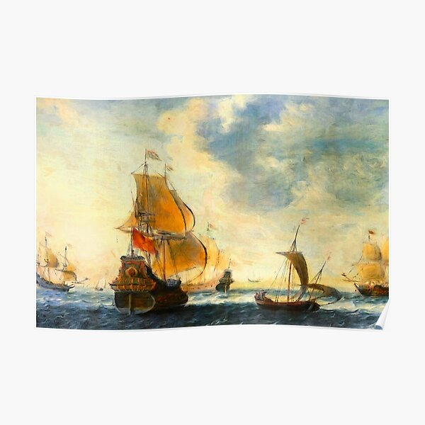 Old Dutch Sailing Ships Poster