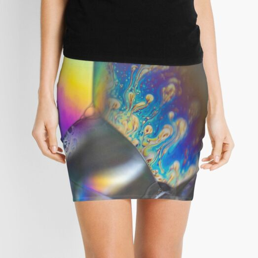 macro bubbles photo rainbow Mini Skirt