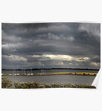 Dark clouds above Lake Grevelingen Poster