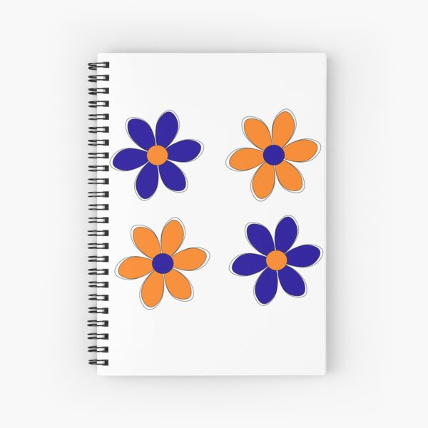 Blue and Orange Flowers - School Colors Spiral Notebook