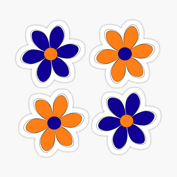 Blue and Orange Flowers - School Colors Sticker
