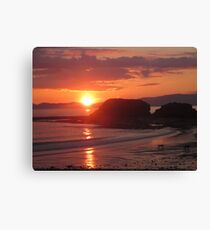 Donegal Sunset, Dogs out Walking, July 2012 Canvas Print