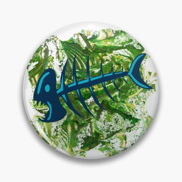 FISH SKELETON SWIRLING SEAS Pin