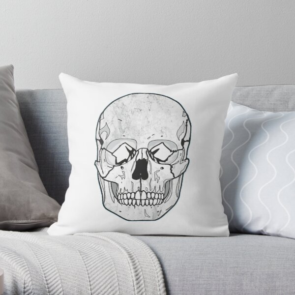 Skull Marble Graphic Art Throw Pillow
