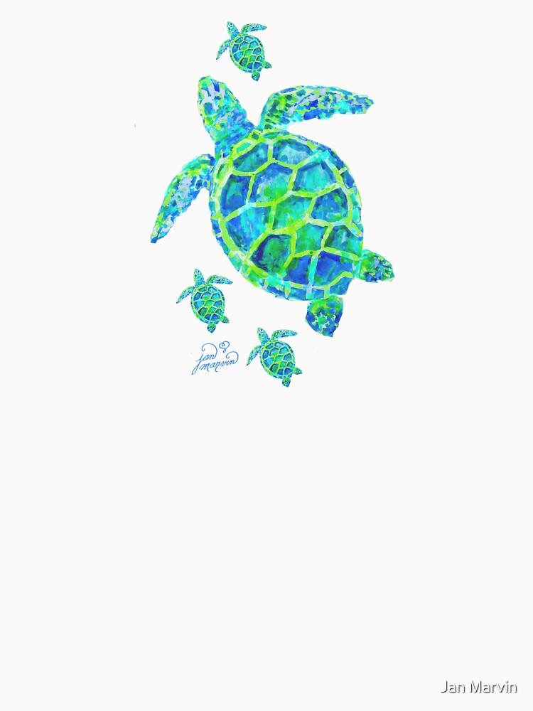 Meeresschildkröte mit Babys von janmarvin