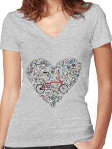 I Love Brompton Bikes Women's Fitted V-Neck T-Shirt