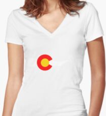 Ski Colorado Flag Women's Fitted V-Neck T-Shirt