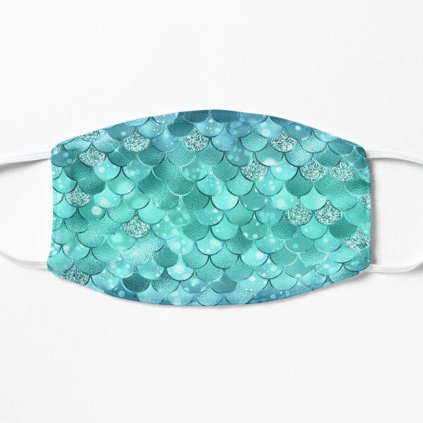 Blue and Green Metallic Mermaid Scale Pattern Mask