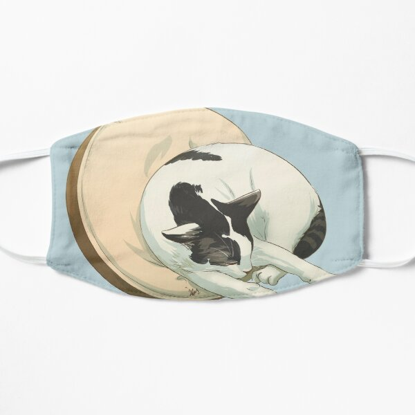 Sleeping Cat White with Grey Tabby Spots Small Mask
