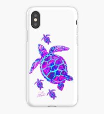 Sea Turtle with babies pink and blue iPhone Case