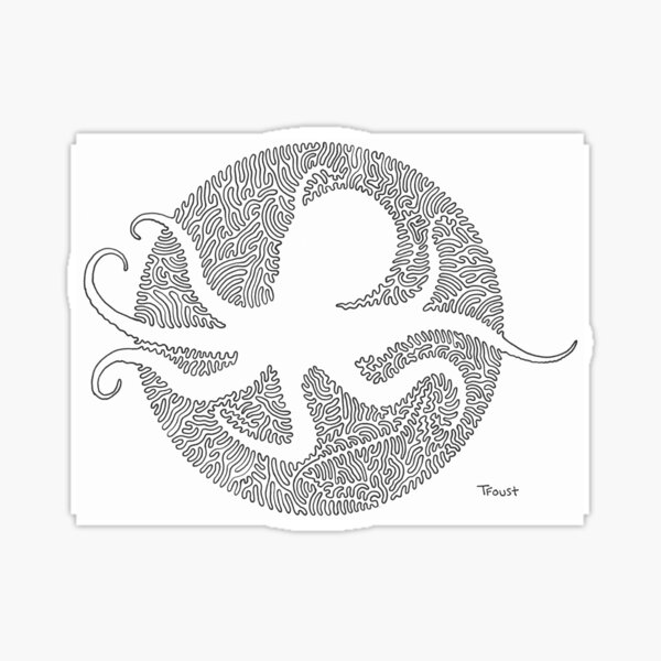 One line Octopus by tfoust  Sticker
