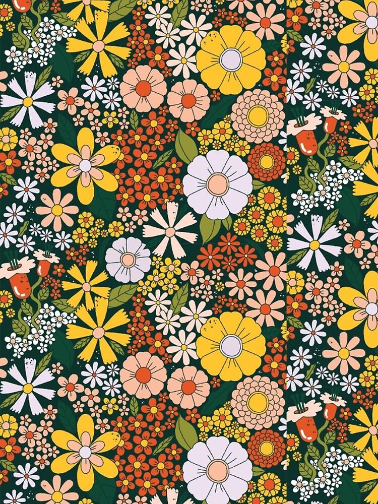 retro 70s green flower pattern by SockSandwich