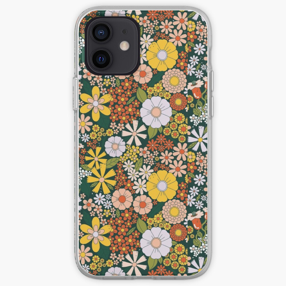retro 70s green flower pattern iPhone Case & Cover