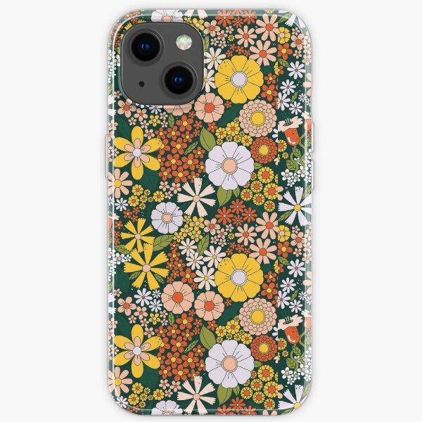 retro 70s green flower pattern iPhone Soft Case