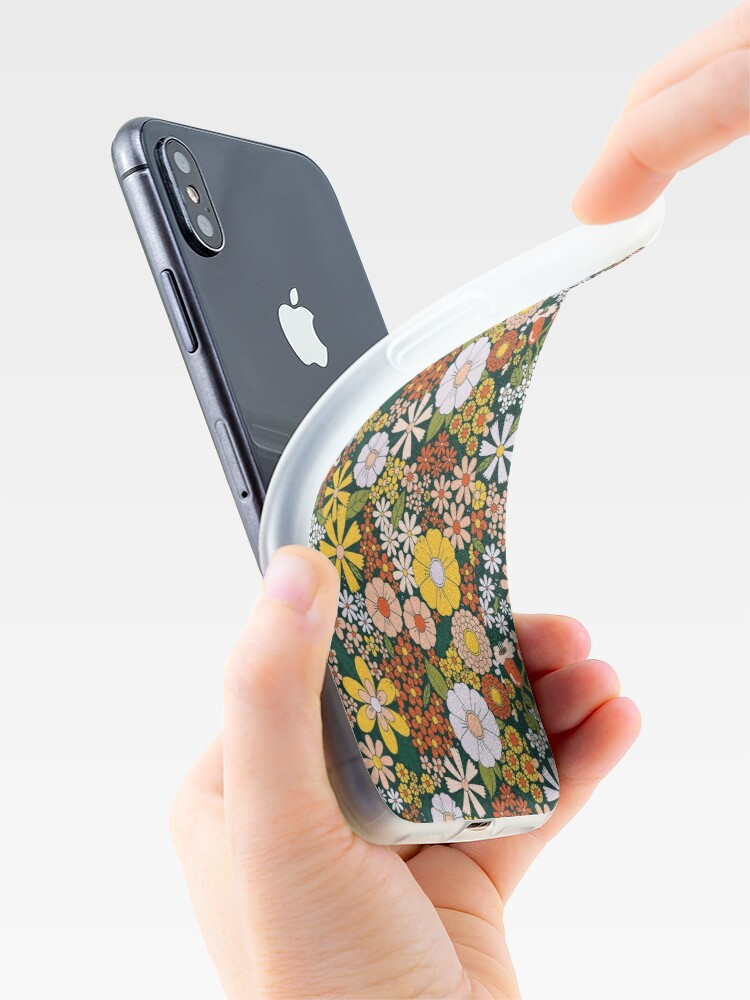 Alternate view of retro 70s green flower pattern iPhone Case & Cover