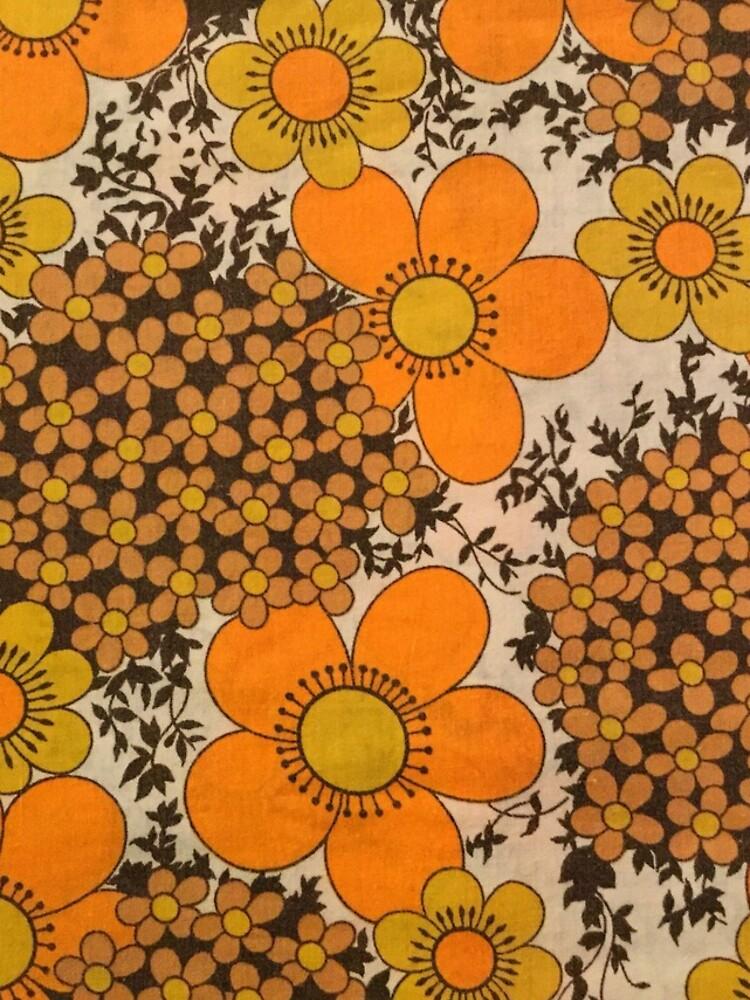 60s 70s orange floral pattern by SockSandwich