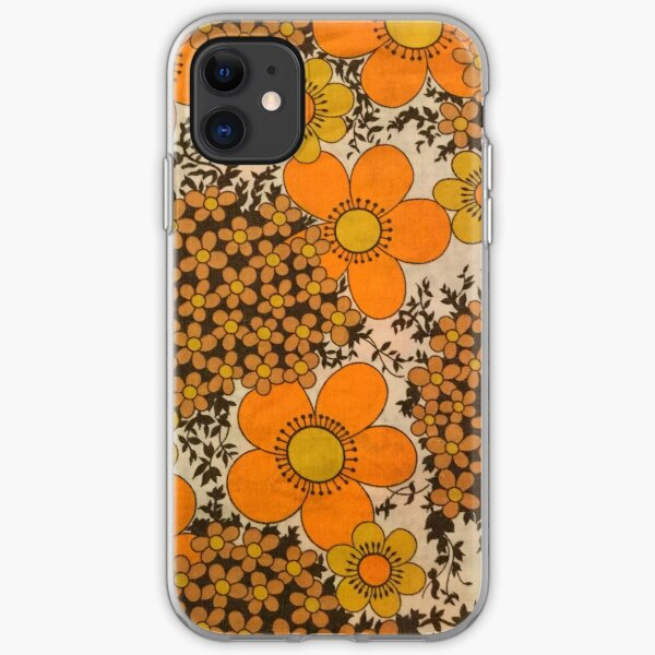 60s 70s orange floral pattern iPhone Soft Case