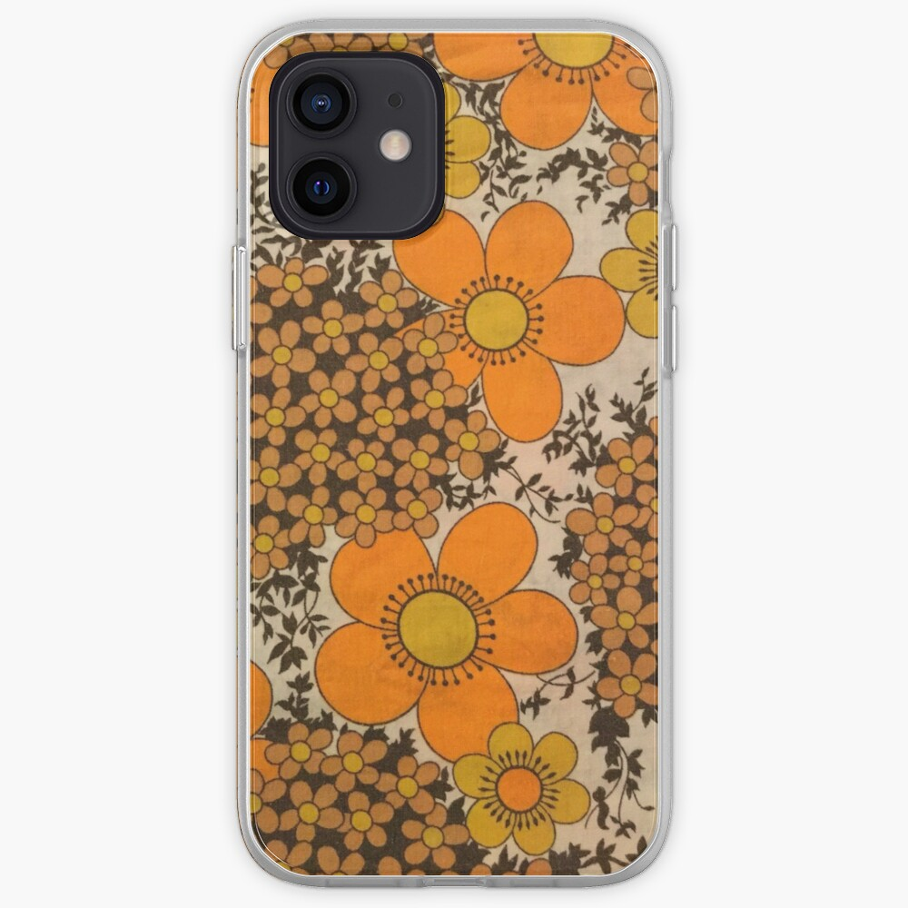 60s 70s orange floral pattern iPhone Case & Cover