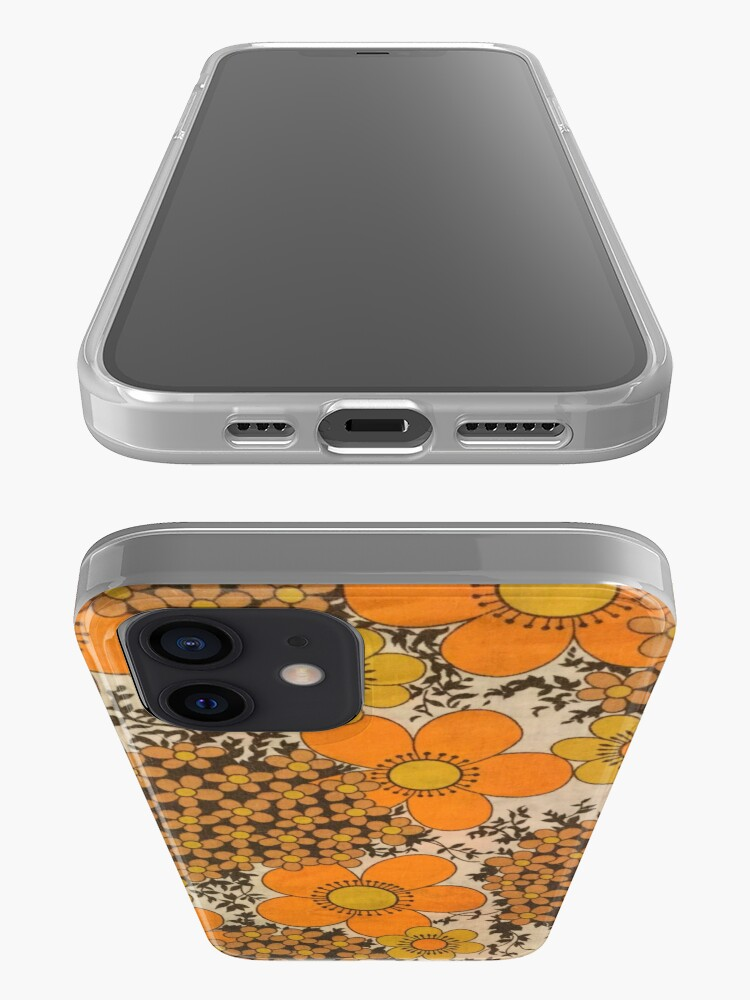 Alternate view of 60s 70s orange floral pattern iPhone Case & Cover