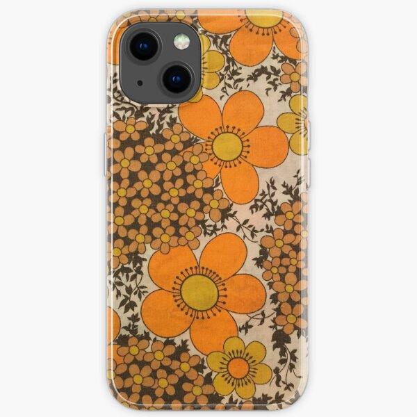 60s 70s orange floral pattern iPhone Soft Case