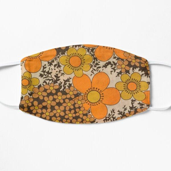 Patrón floral naranja 60s 70s Mascarilla plana