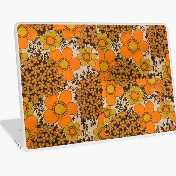 60s 70s orange floral pattern Laptop Skin