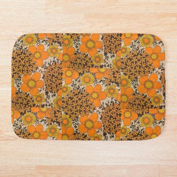 60s 70s orange floral pattern Bath Mat