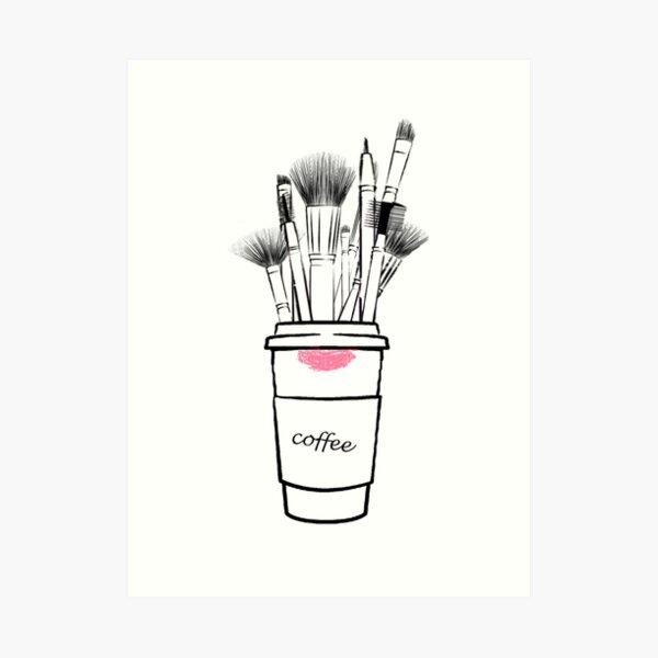 Makeup brush set and coffee cup fashion illustration Art Print
