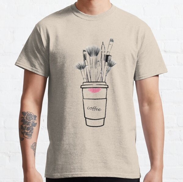 Makeup brush set and coffee cup fashion illustration Classic T-Shirt