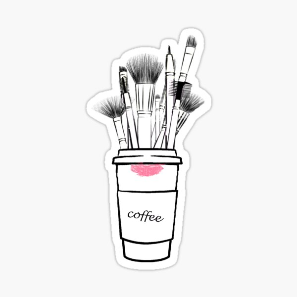 Makeup brush set and coffee cup fashion illustration Sticker